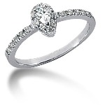 Platinum Side-stone ring with 20 diamonds (0.39ct)
