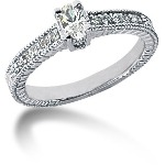 White gold Side-stone ring with 11 diamonds (0.4ct)