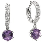 Amethyst Earrings in White gold with 34 diamonds (0.17ct)