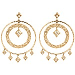 Red gold Diamond earrings with 14 diamonds (0.2ct)