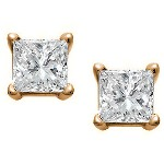 Red gold studs with princess cut diamonds 3x3 mm (0.3ct)