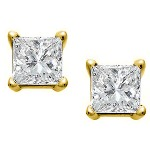Yellow gold studs with princess cut diamonds 2.5x2.5 mm (0.2ct)