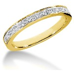 Yellow gold Side-Stone Engagement ring with 13 diamonds (0.32ct)