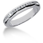 Palladium Side-Stone Engagement ring with 15 diamonds (0.15ct)