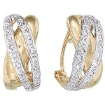 White and yellow gold Diamond earrings with 72 diamonds (0.36ct)