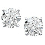 Platinum studs with round, brilliant cut diamonds 5 mm (1ct)