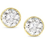 Yellow gold studs with round, brilliant cut diamonds 3.0 mm (0.2ct)