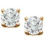 Red gold studs with round, brilliant cut diamonds 3.0 mm (0.2ct)