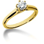 Yellow gold Solitaire with  0.5ct round, brilliant cut diamond