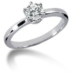 White gold Solitaire with  0.5ct round, brilliant cut diamond