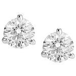 White gold studs with round, brilliant cut diamonds 4.0 mm (0.5ct)