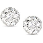 White gold studs with round, brilliant cut diamonds 5 mm (1ct)
