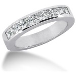 White gold  Engagament ring w. 9 princess cut diamonds (0.9ct)