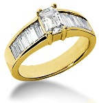 Yellow gold Side-stone ring with 13 diamonds (1.54ct)