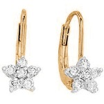Red gold Diamond earrings with 12 diamonds (0.22ct)