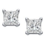 White gold studs with princess cut diamonds 2.5x2.5 mm (0.2ct)