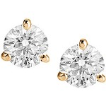 Red gold studs with round, brilliant cut diamonds 3.4 mm (0.3ct)