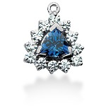 Blue Topaz pendant in White gold with 12 diamonds (0.96ct)