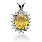 Yellow Citrine pendant in White gold with 18 diamonds (0.45ct)