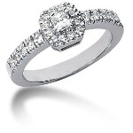 White gold Side-stone ring with 23 diamonds (0.47ct)